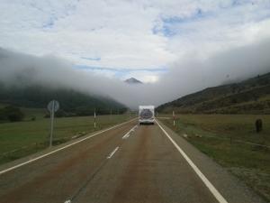 van in mist
