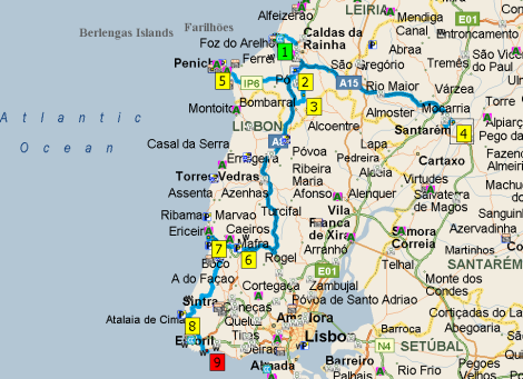 Big Bogging Week Eamless Travels - Portugal map obidos